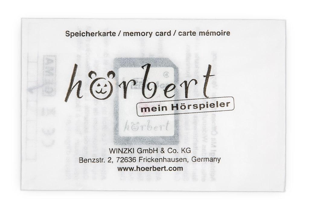 hörbert memory card packed in paper bag