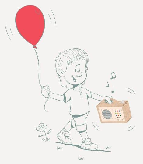 Illustration: hörbert mit Luftballon