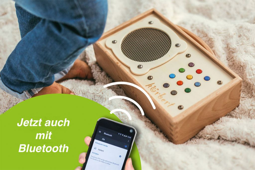 hörbert jetzt auch mit Bluetooth Modul zum Streamen und Verbinden mit Bluetooth Kopfhörern