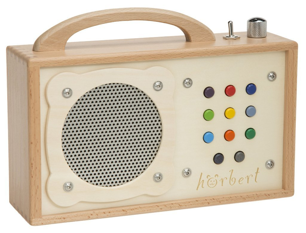mp3 player for children h rbert made of wood and stainless steel portable with built in. Black Bedroom Furniture Sets. Home Design Ideas
